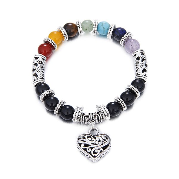 Yoga beaded bracelets bead buddha bracelet mada by 8mm tiger eye/agate stone beads with heart silver pendant for men women 2017