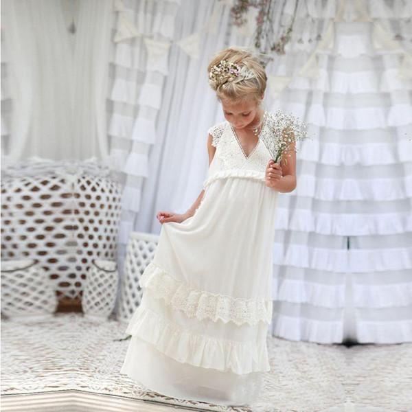 Vestidos de las muchachas de princesa de la flor una línea Vestidos de las muchachas de la gasa del cordón Vestidos de la muchacha de la boda de la playa Vestidos del desfile con cuello en V