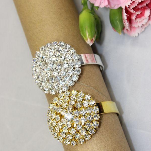 Wholesale- Free Shipping 12 pcs Silver/golden rhinestone Napkin Rings Serviette Holder Wedding napkin ring decorative wedding rings
