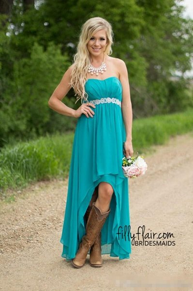 Modest Teal Turquoise Bridesmaid Dresses 2016 Cheap High Low Country  Wedding Guest Gowns Under 100 Beaded Chiffon Junior Plus Size Maternit  Black ...