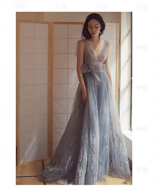 Sexy Real Pictures Sheer Evening Dresses no Bra Long A-Line Prom Party Gowns Sleeveless Custom Made On Sale Vestido De Soiree