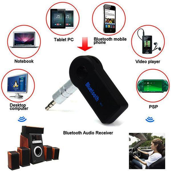 Toptan-Handsfree Bluetooth 3.0 Araç Kiti Kablosuz 3.5mm Streaming A2DP Araba Oto Ses Müzik Alıcısı Video Oynatıcı Fonksiyonu Mikrofon USB