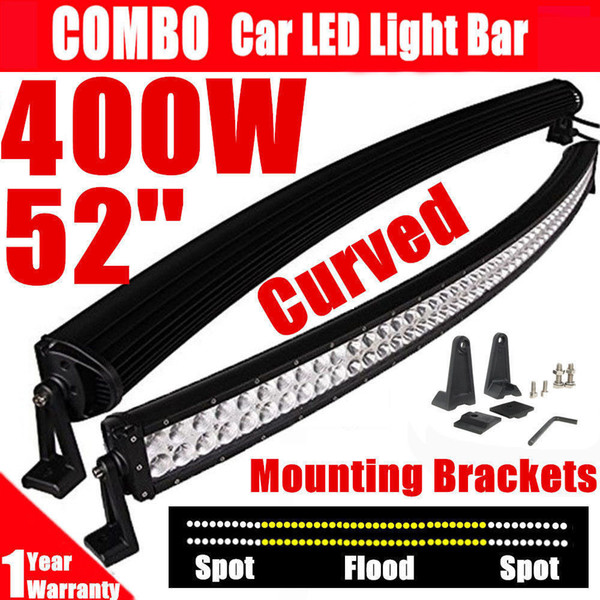 """400W 52"""" Curved Work LED Light Bar Spot Flood Combo Beam Fog Driving Lamp for SUV ATV 4WD Boat Truck Off-road Jeep+ Free Mounting Bracket"""
