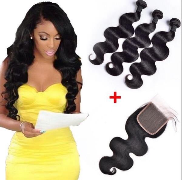 Brezilyalı Vücut Dalga İnsan Virgin Saç 4x4 Ile Dantel Kapatma Ağartılmış Knot 100 g / adet doğal Siyah Renk Çift Atkı Saç Uzantıları Örgüleri