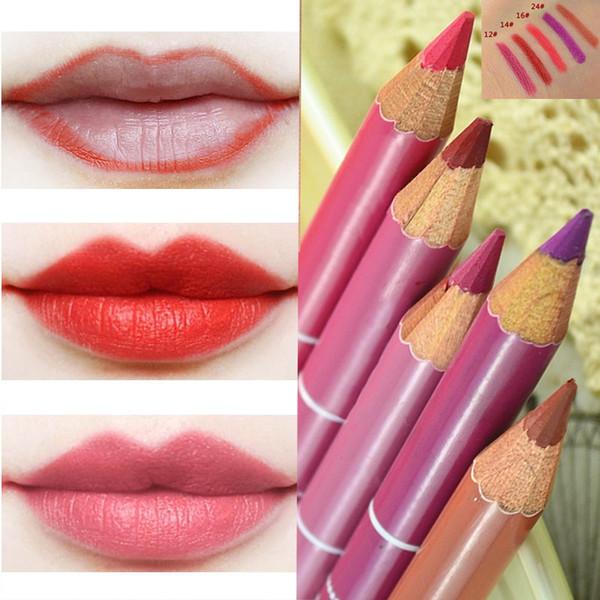 Wholesale- Hot makeup lipstick tool 5 Colors Professional Lipliner pencil Waterproof wooden blend Lip Liner Pencil 15CM Per Set 5pcs