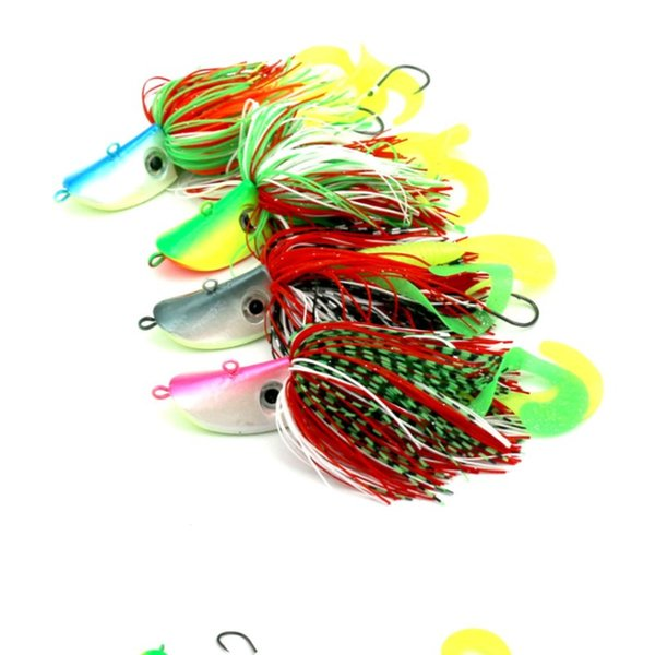 Blue Pink Gray Green Big Jig Heads Hooks 4PCS Beard Guy Fishing Baits 91g Lifelike Fishing Lures Suits Maggot Worms Soft Baits