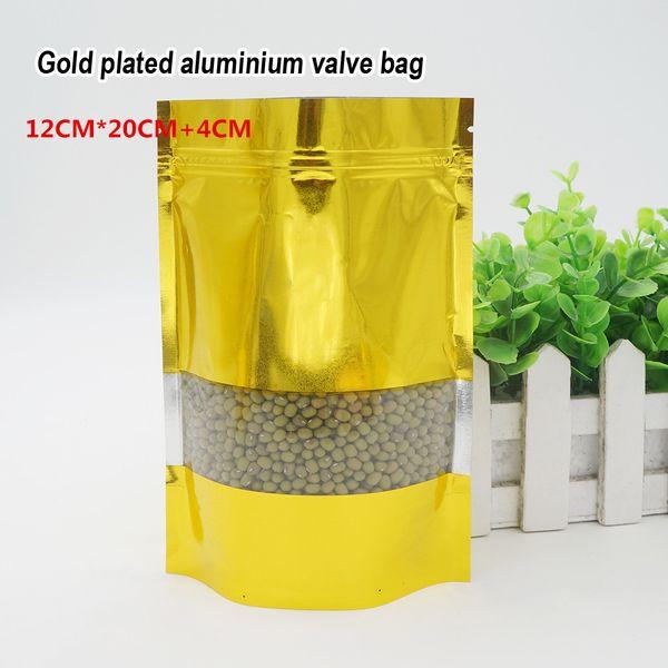 12 * 20 + 4cm feuille d'or en aluminium auto-stylisé sac de sac matériel de qualité alimentaire magasin d'emballage alimentaire sacs d'ornements spot 100 / paquet