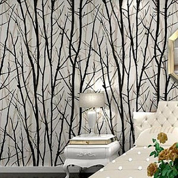 Nero bianco albero di betulla Rami in rilievo Carta da parati a rilievo Sala da pranzo, Corridoio, Sala da bagno Carta da parati Murale Art Deco Rivestimento murale 10 M