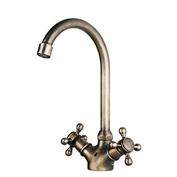 Wholesale Retail Bathroom Basin Faucets Antique Brass Brushed Bronze 2 Handle 1 Hole Deck Mounted Hot Cold Mixer Toilet Sink Taps ABMPL012-3