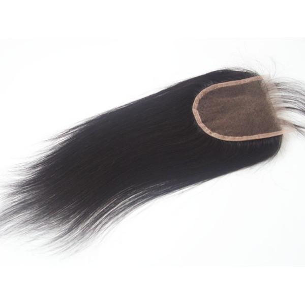 Diritto brasiliano dei capelli umani chiusura in pizzo 4 * 4 libero medio 3 way parte capelli vergini non trasformati chiusura superiore pizzo svizzero nodi candeggiati