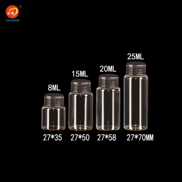 8ml 15ml 20ml 25ml Glass Bottles With Plastic Cap Black Screw Decorate Glass Vials Plastic Jars Bottles 50pcs Free Shipping