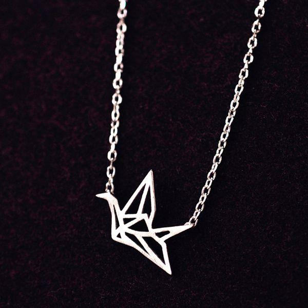 5pcs/lot Hot Sale Real Pure 925 Sterling Silver Elegant Origami Crane Charming Design Pendant Necklace collar de plata