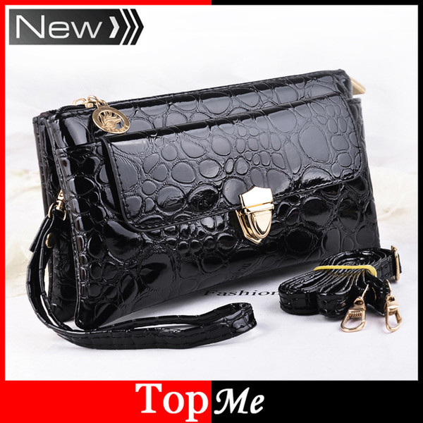 Wholesale- Women Envelope Messenger Bags Zipper Crocodile Clutch Cross Body Evening Shoulder Bags Lady Keys Phone Purses Leather Handbags