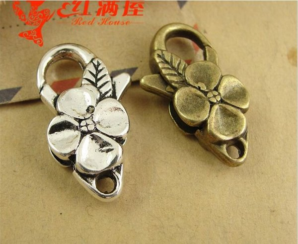 26*15MM Antique bronze plated flower leaf lobster clasp for bracelet, vintage silver jewelry clasp for necklace, metal key ring holder hook