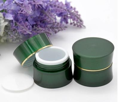 2017 Mini 5g High Quality Green Acrylic Plastic Cream Jars Cosmetic Packaging Sample Empty Container Refillable Bottles