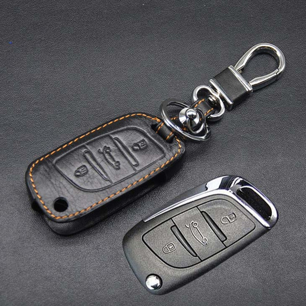 High-quality Genuine Leather Car Key Fob Case Holder Bag For Citroen C5 3 Buttons