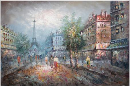 Cityscape with Buildings and People near the Eiffel Tower,Genuine Handpainted City Views Wall Art Oil painting On canvas,Multi sizes Cs003