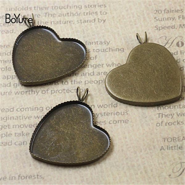 BoYuTe 40Pcs 25MM Heart Cabochon Base Blank Tray Pendant Vintage Antique Bronze Diy Metal Base for Jewelry