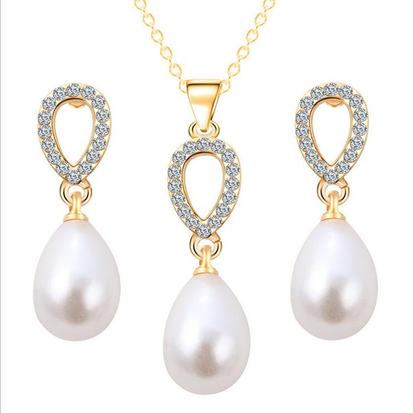 New Bridal Earrings Necklaces Sets Diamond Pearl Crystal Drops Felegant Jewelry Hot Style Pendant Crystal Necklace Women'S Jewelry 3pcs Sets
