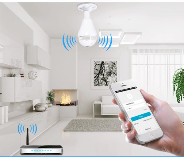 1.3MP Bulb Light Wireless IP Camera panoramica Wi-Fi Lampada FishEye WIFI Camera 360 gradi Mini CCTV Home Security Mini P2P Camara