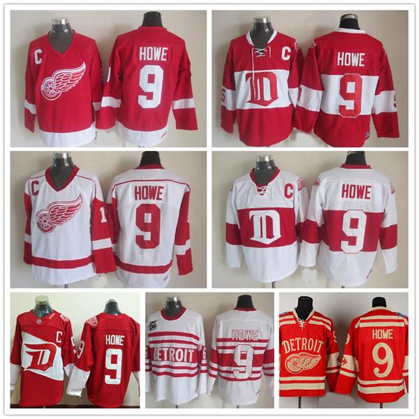 Kostenloser Versand Mens Großhandel Detroit Red Wings # 9 Gordie Howe Hockey Trikots Günstige Vintage Winter Klassische Rot Weiß Gordie Howe C Patch