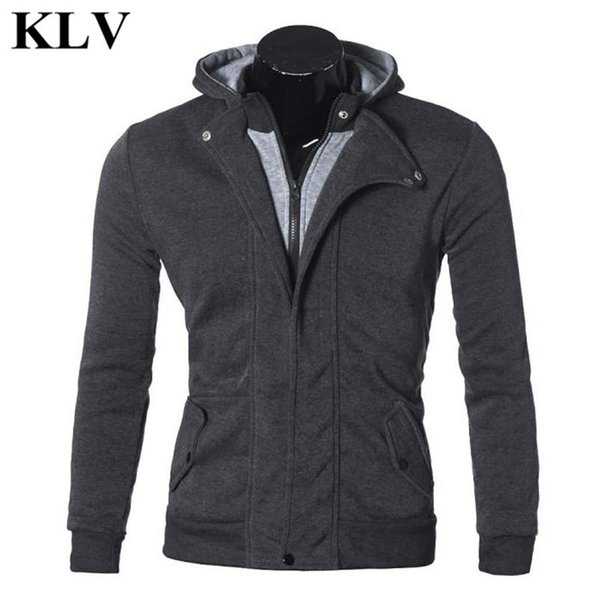 Wholesale- Fashion Cool Men Warm Hooded Sweatshirt Coat Autumn Winter Casual Exercise Fleece Male Jacket Zipper Outerwear Plus Size Oct19