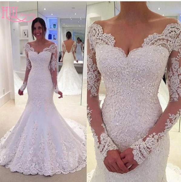 2017 Fall Winter Mermaid Wedding Dresses With Long Sleeves Off Shoulder Lace Appliques Backless Cheap Wedding Gowns Trumpet Sexy Bridal Gown