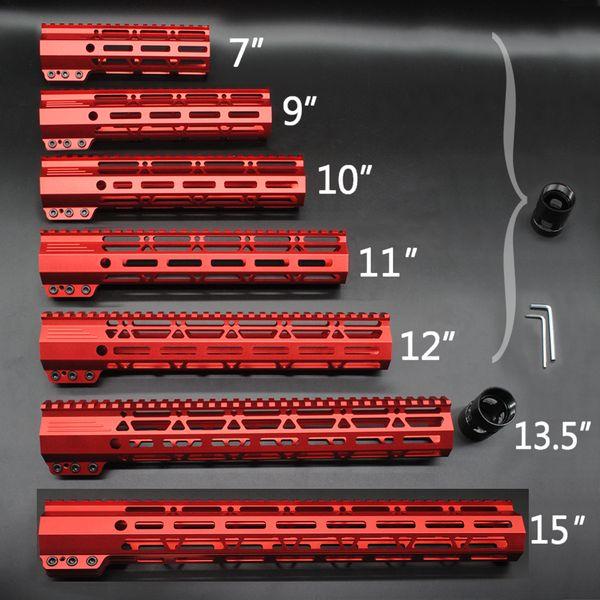Red Anodized 7 '' 9 '' 10 '' 11 '' 12 '' 13.5 '' 15 '' pollici M-lok Staffa di protezione per paramani Rail Free Free Mount System