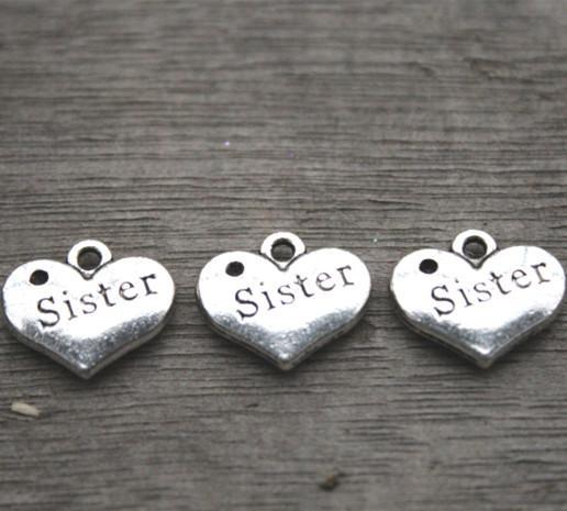 20 шт.-сестра подвески, Античное серебро 2 сторонняя старинные письма сестра знак Любовь сердца Шарм подвески, сердца подвески 13x16 мм