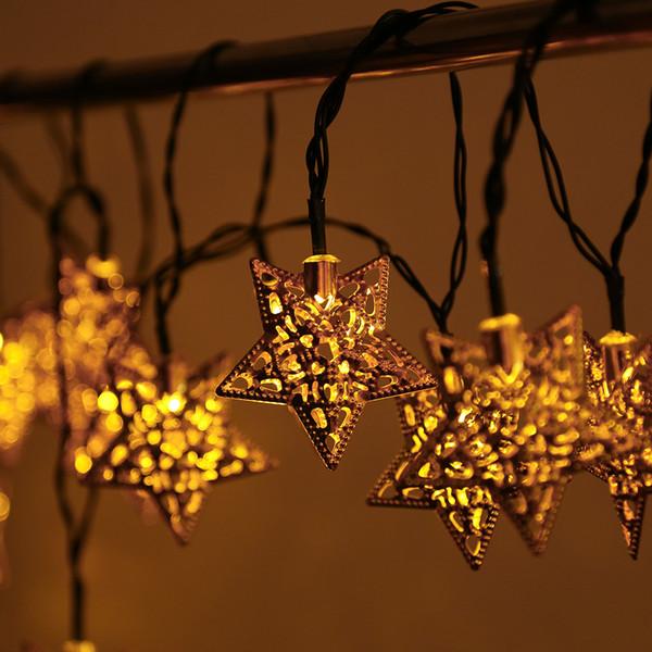 Weihnachtsbeleuchtung Aussen Stern Preise.Großhandel 4 82m Eisen Sterne Weihnachtsbeleuchtung Solarbetriebene Led Lichterketten 20 Metall Sterne String Light Für Festival Halloween Party