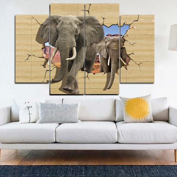 Durch die Wände der 3D Elephant Frameless PaintingsPrinted auf Leinwand Wandkunst HD Print Malerei Bild
