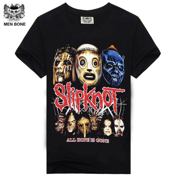 Wholesale- Rocksir 2015 Summer Style Fashion Men T Shirt Black T-Shirt Tshirt Men's Shirt Cotton Rock Band Slipknot Print Hip Hop Tee