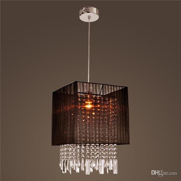 Lámpara colgante elegante con tela negra Pantalla de cristal moderna Araña de LED Lámpara de techo Iluminación Lámparas colgantes de araña de cristal