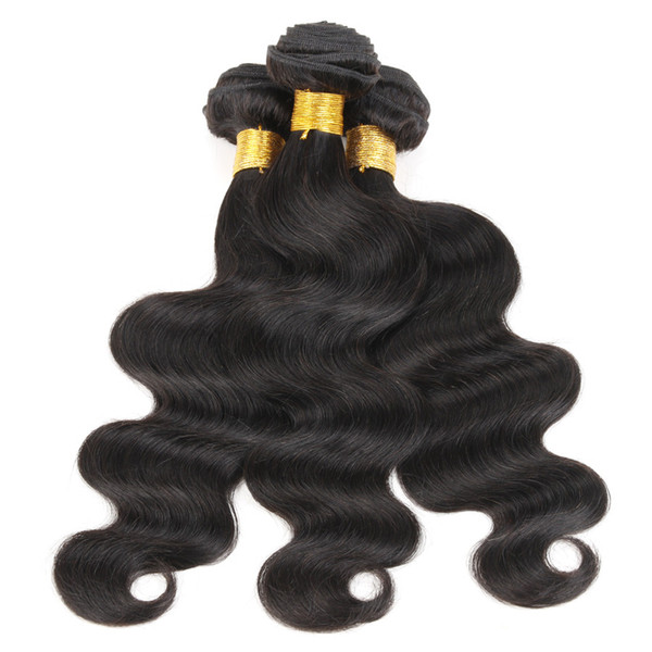 3 Bundles Brazilian Body Wave Hair Weave Cheap Color 1B Black Raw Virgin Indian Malaysian Peruvian Cambodian Chinese Human Hair Weft