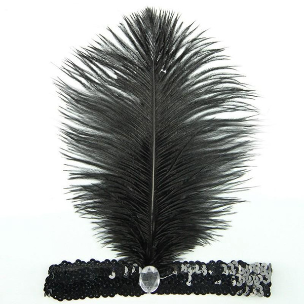 Ostrich Feather Headhand Fast Shipping Carnival Home Party 1920's Flapper Sequin Charleston Costume Ostrich Feather Headband Fast Shipping