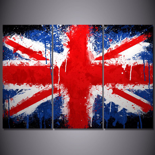 3 Pcs/Set Framed HD Printed United Kingdom Flag Picture Wall Art Canvas Print Decor Poster Canvas Oil Painting