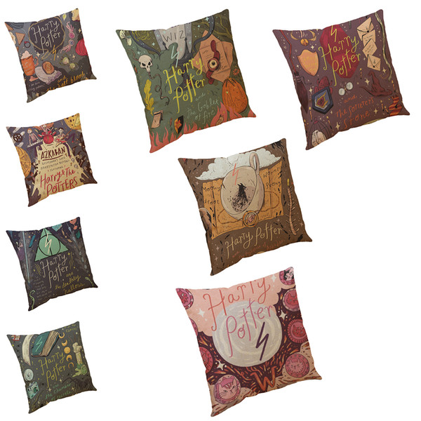 Cartoon Harry Potter Pattern Printed Linen Cushion Cover Home Office Sofa Square Pillow Case Decorative Cushion Covers Pillowcases(18*18)