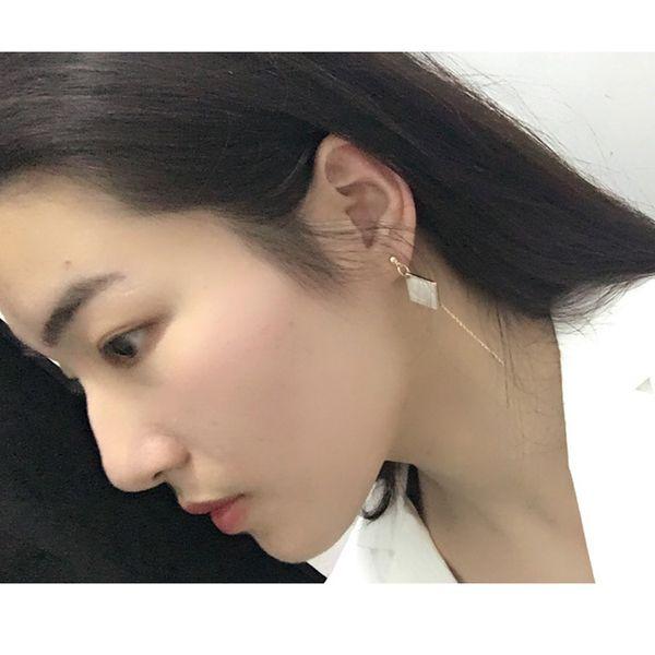 Europe and the United States irregular geometric drop oil circle Rhombus diamond ring tassel earrings female earrings