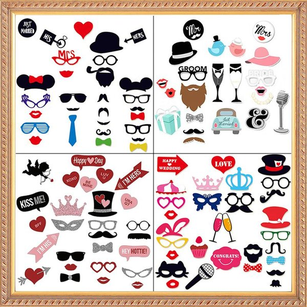 New Wedding Decoration Photo Booth Props Funny Glasses Mustache Birthday Party Supplies Photobooth 22/27/31Pcs