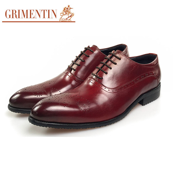 GRIMENTIN Hot sale Italian men oxford shoes fashion designer mens dress shoes 100% genuine leather brown-red wedding business male shoes OM