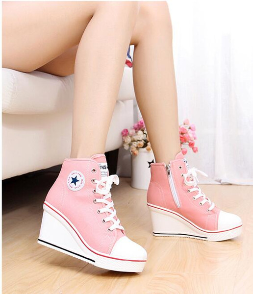 Free shipping 2015 badge wedges high lacing casual elevator shoes female canvas shoes high top wedge sneakers women sport shoes