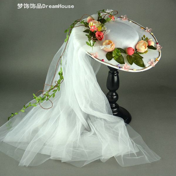 Woman headdress hair The bride wreath hat veil Mori sweet flower hair accessories Korean wedding accessories studio photography wedding head