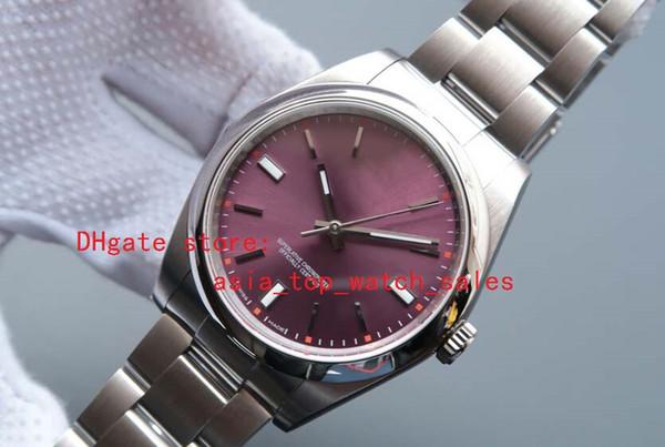En kaliteli Safir 41mm Otomatik Kırmızı Üzüm Dial Elbise Tam Çelik Aydınlık 114300 erkek Saatler