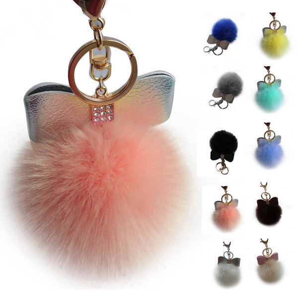 Excellent rabbit hair bulb key chain set auger bowknot lady car key chain bag pendant 8 cm