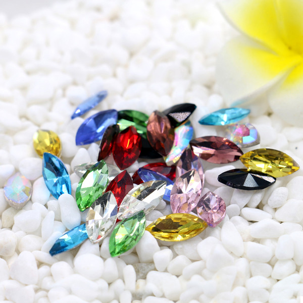 top popular 7x15mm Marquise Crystal Pointback Fancy Stone Navette K5 Glass Silver Foiled Gemstone 50pcs bag (10 Different Color Available) 2019