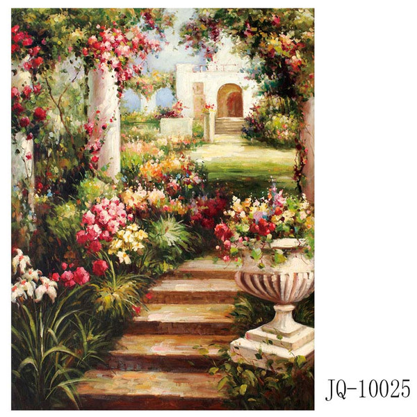 Garden view The Mediterranean Facing the sea house Canvas Painting Landscape Scroll Painting The house of sea Canvas printing