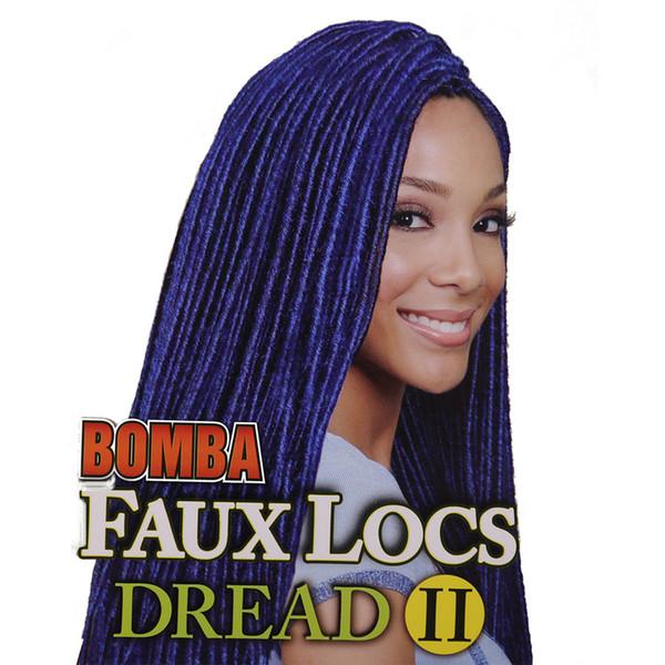 Toptan-Popüler Sentetik Saç Uzatma 18 inç 80g Mavi Altın Renk Faux Locs Tığ Örgüler Döngü Dreads Örgü Dreadloc Sert Saç
