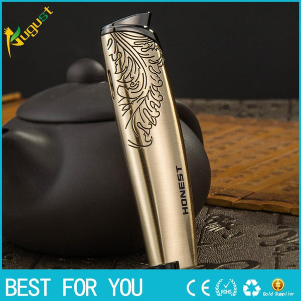 New hot HONEST Good quality creative personality cigar lighter windproof metal gas lighter jet torch lighter for outdoor with gift box