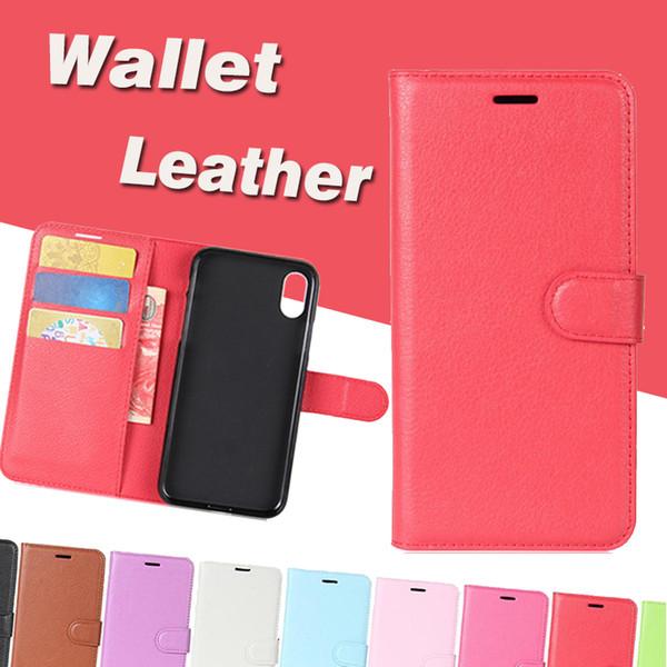 Litschi Brieftasche Ledertasche Kartensteckplatz Kickstand Fall Abdeckung für iPhone XS Max XR X 8 7 6 Plus Samsung Galaxy S10 E 5G Hinweis 9 A10 A30 A40 A50