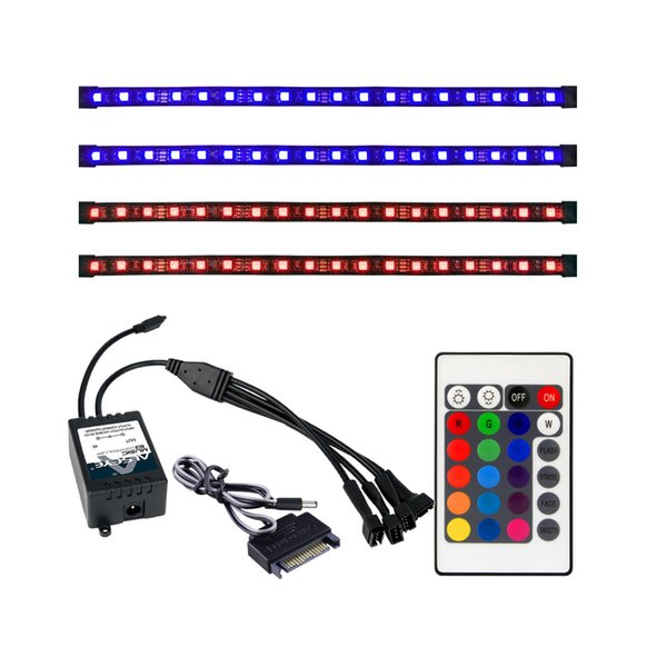 Wholesale- ALSEYE Remote RGB LED Strip Light 4 Channels Computer Case RGB Fan Controller and 30cm Sislicone Magnetic Strips (Duty free)